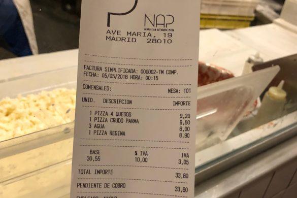 Ticket Cuenta Pizzeria Nap Madrid