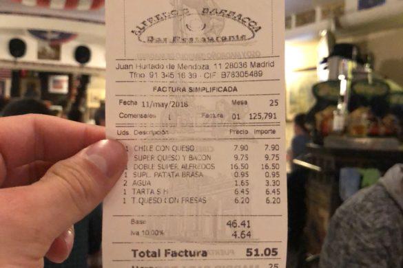 Ticket Cuenta Alfredos Barbacoa
