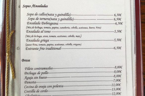 Carta Entrantes Restaurant Acasa