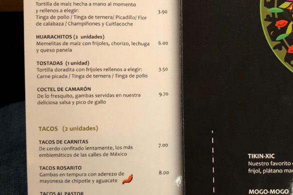 Carta Entrantes y Tacos La Chamana