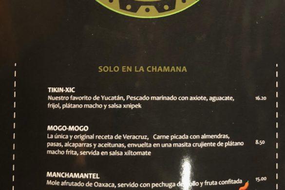 Carta Especialidades La Chamana