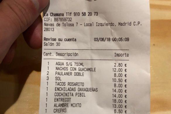 Ticket Cuenta La Chamana