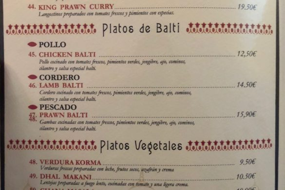 Carta Segundos Restaurante Hindú Fathe Pur