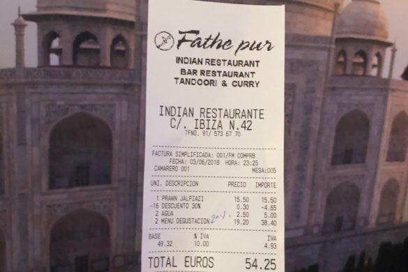 Ticket Cuenta Restaurante Hindú Fathe Pur