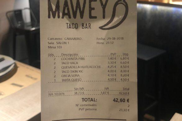 Ticket Cuenta Mawey Taco Bar