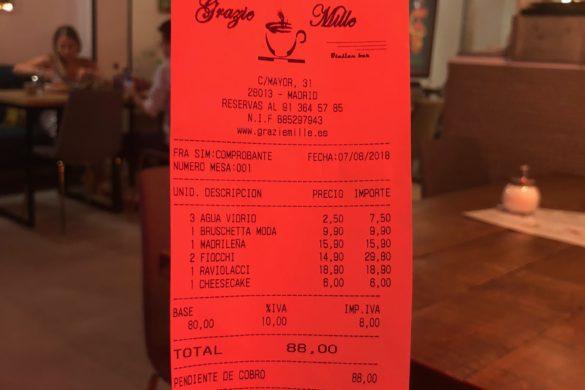 Ticket Cuenta Grazie Mille
