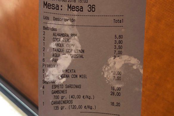 Ticket Cuenta Chiringuito Los Compadres