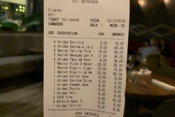 Ticket Cuenta Restaurante La Cabra