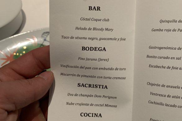 Menú Coque Madrid
