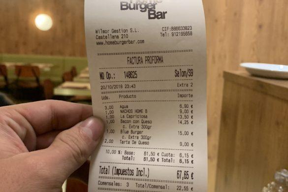 Ticket Cuenta Home Burger Bar