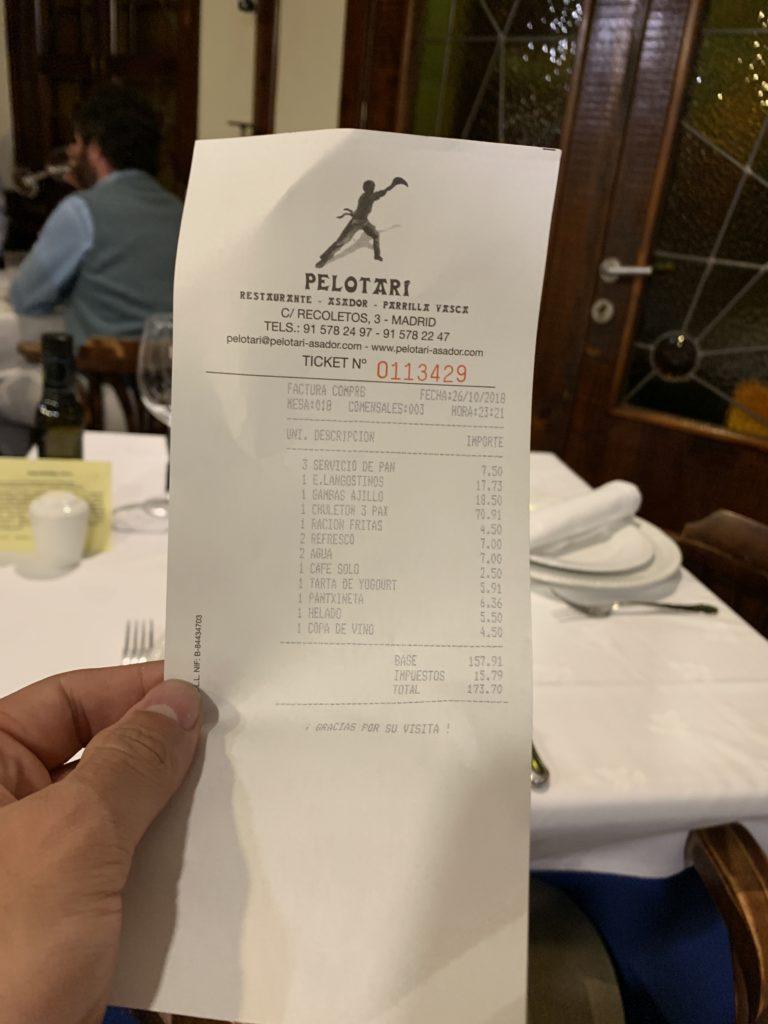 Ticket Cuenta Asador Pelotari