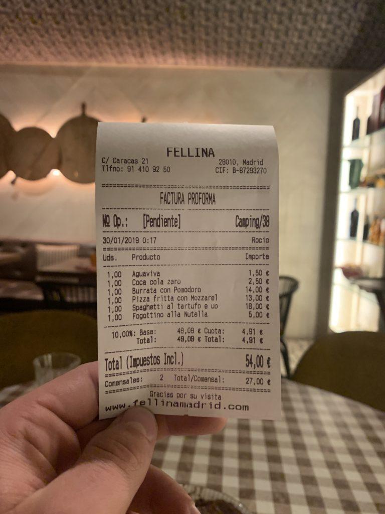 Ticket Cuenta Fellina Madrid