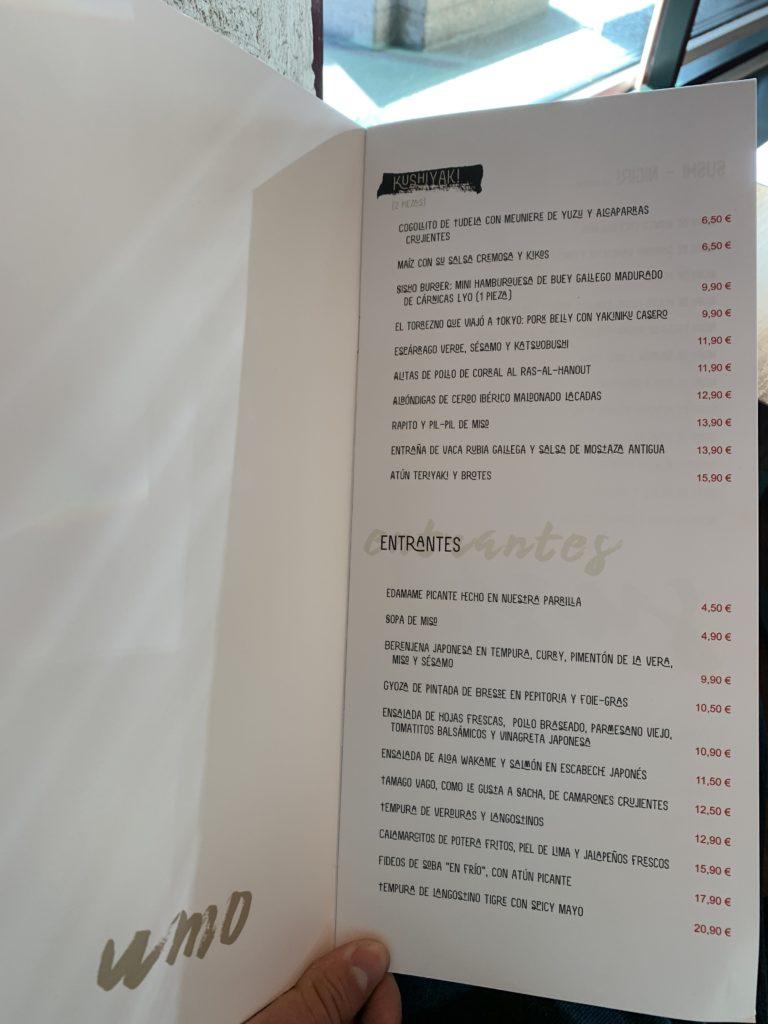 Carta Umo Restaurante