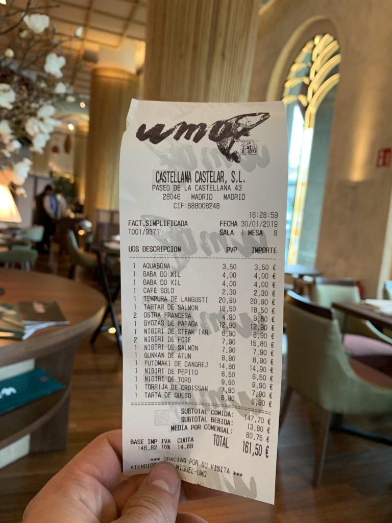 Ticket Cuenta Umo Restaurante