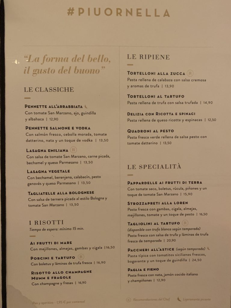 Carta Restaurante Ornella