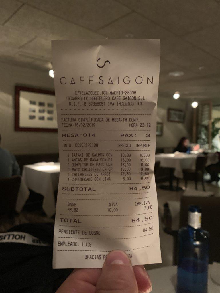 Ticket Cuenta Café Saigón