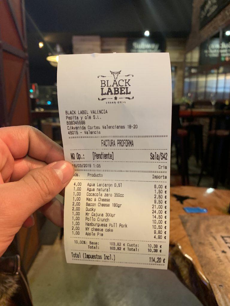 Ticket Cuenta Black Label Urban Grill
