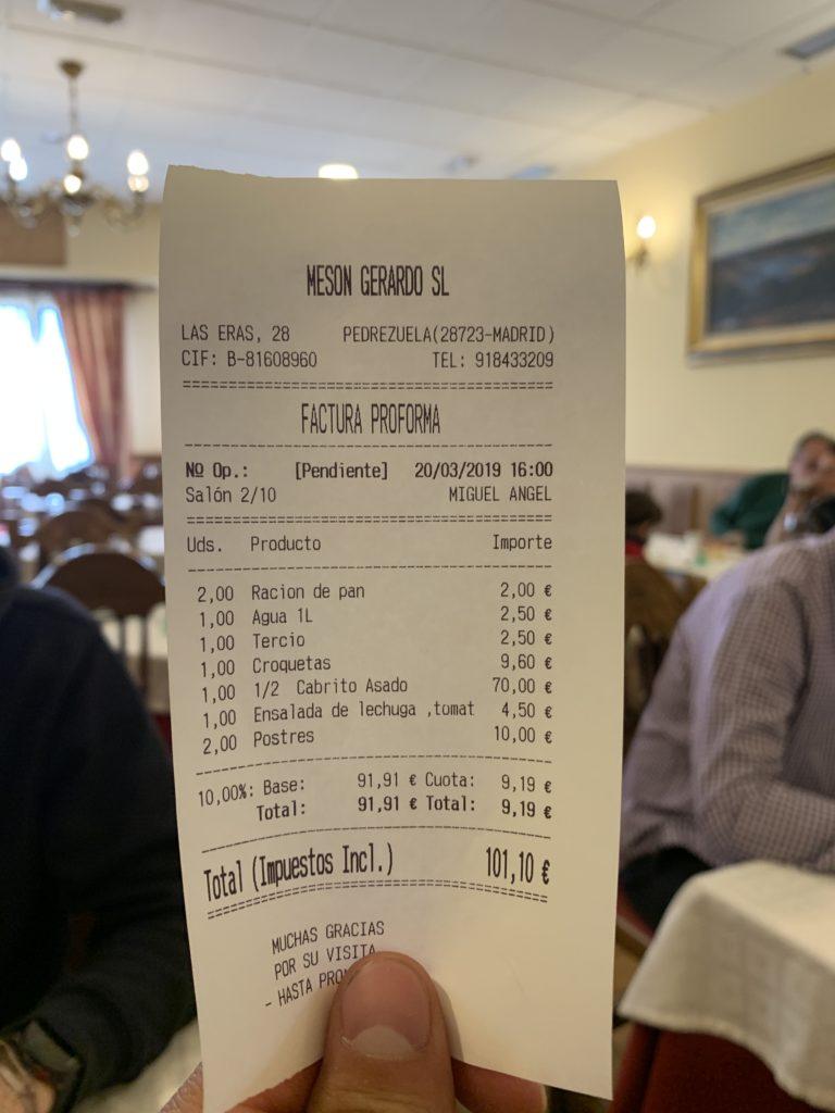 Ticket Cuenta Mesón Gerardo