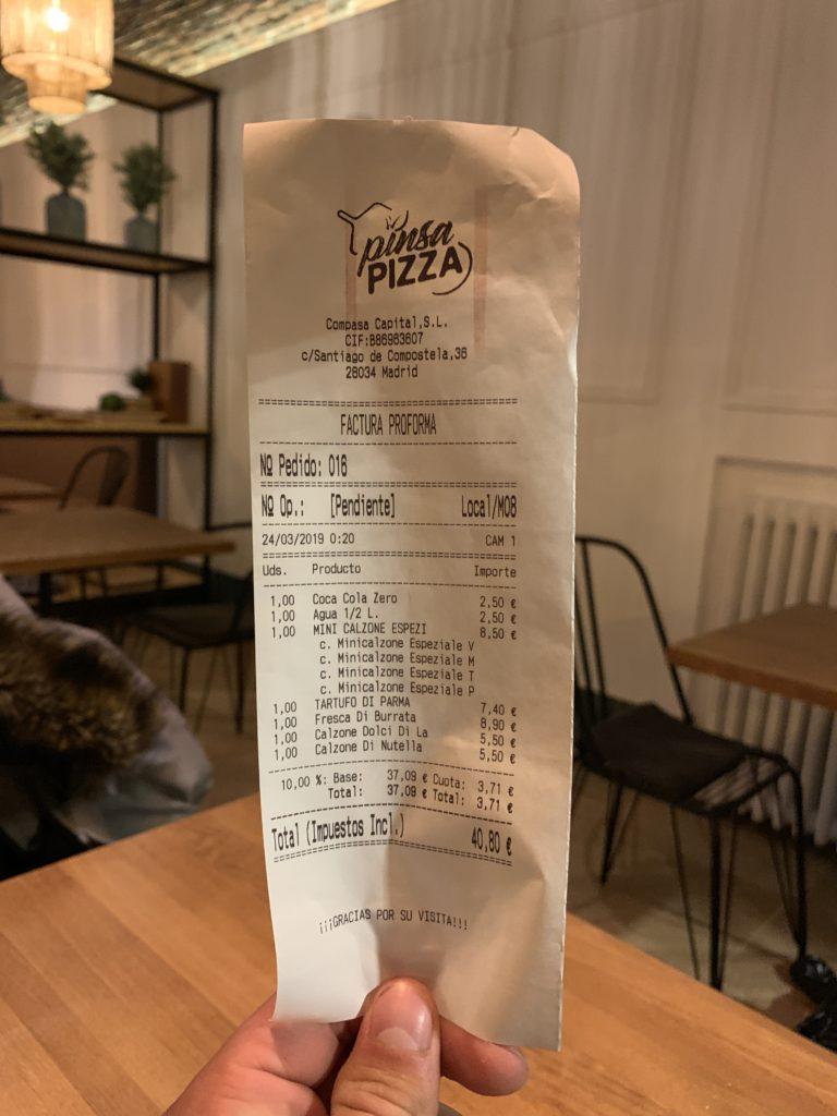 Ticket Cuenta Pinsa Pizza