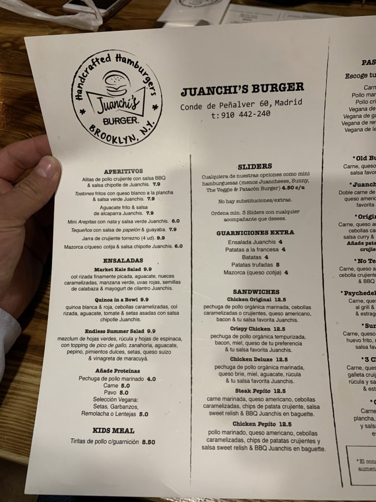 Carta Juanchis Burger