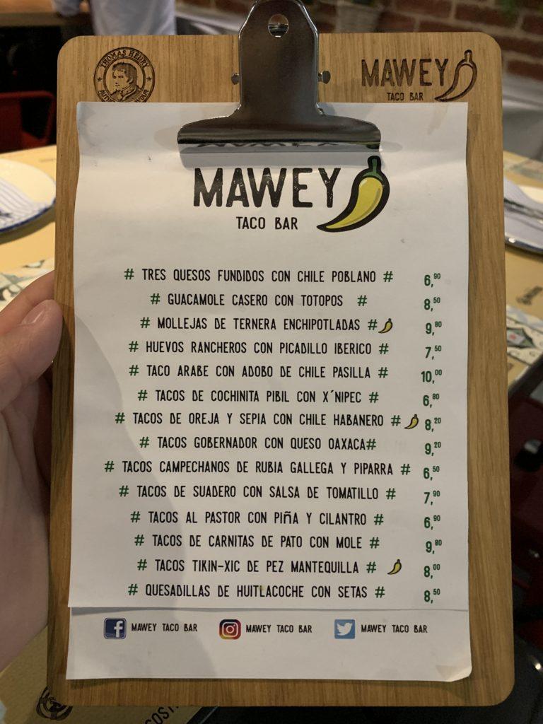 Carta Mawey Taco Bar Gran Vía