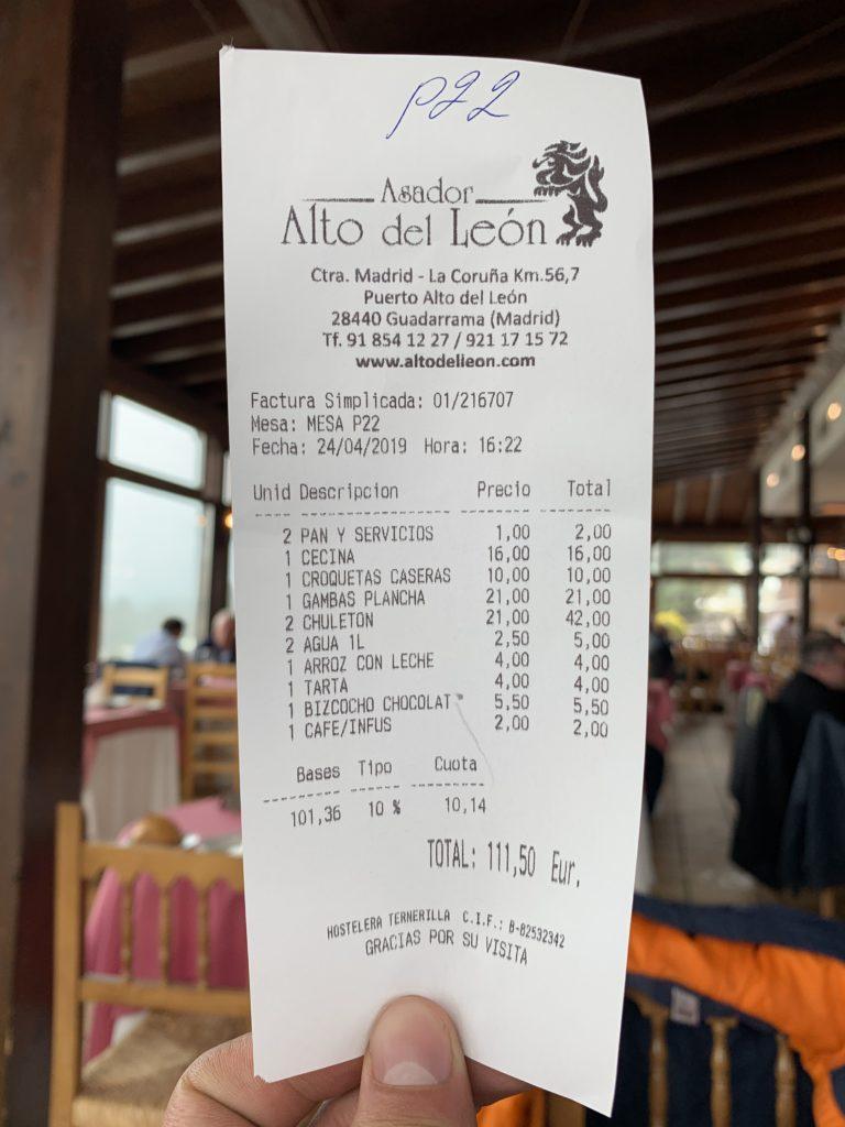 Ticket Cuenta Asador Alto del León