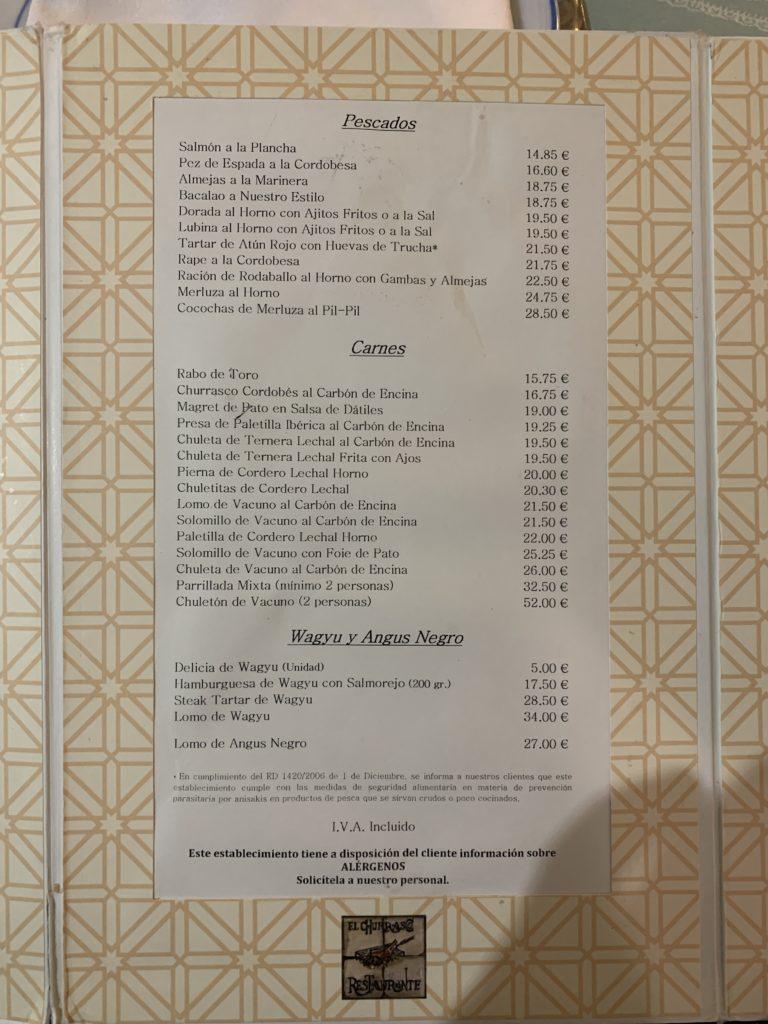 Carta Pescados y Carnes Restaurante El Churrasco Córdoba