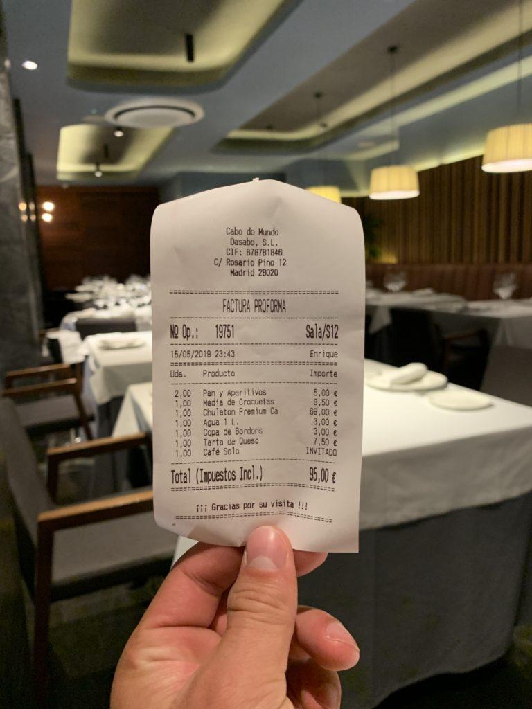 Ticket Cuenta Restaurante Cabo Do Mundo