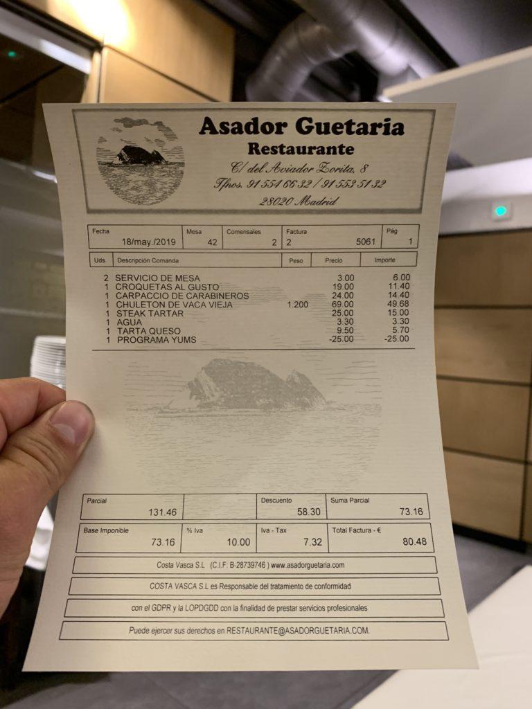 Ticket Cuenta Asador Guetaria