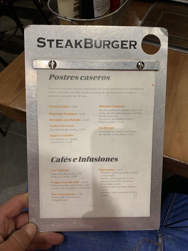 Carta Postres Steakburger