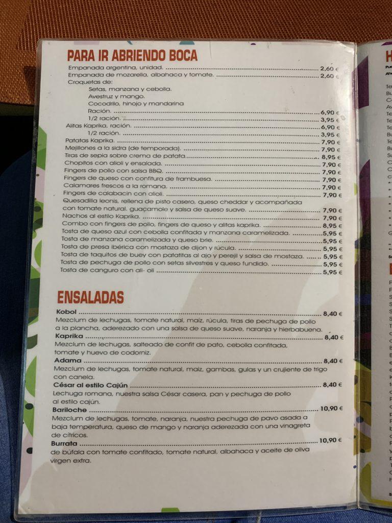 Carta Entrantes y Ensaladas Restaurante Kaprika Pozuelo