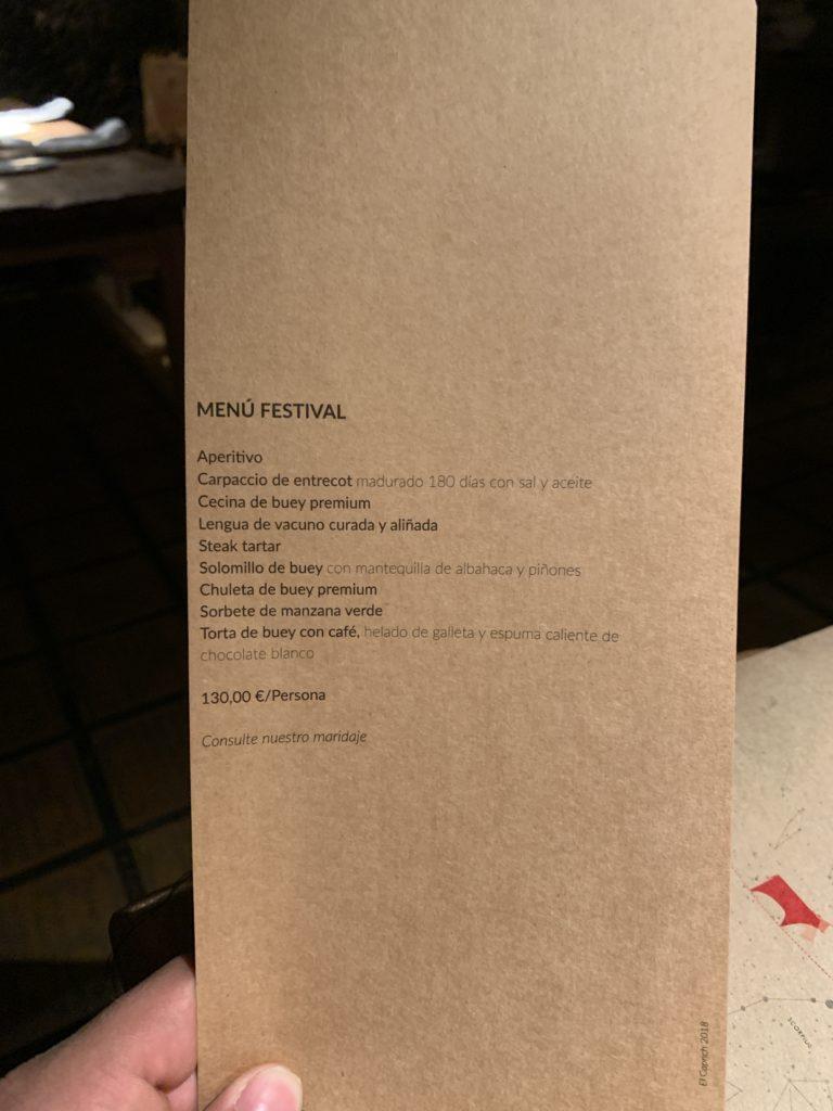 Menú Festival Bodega El Capricho