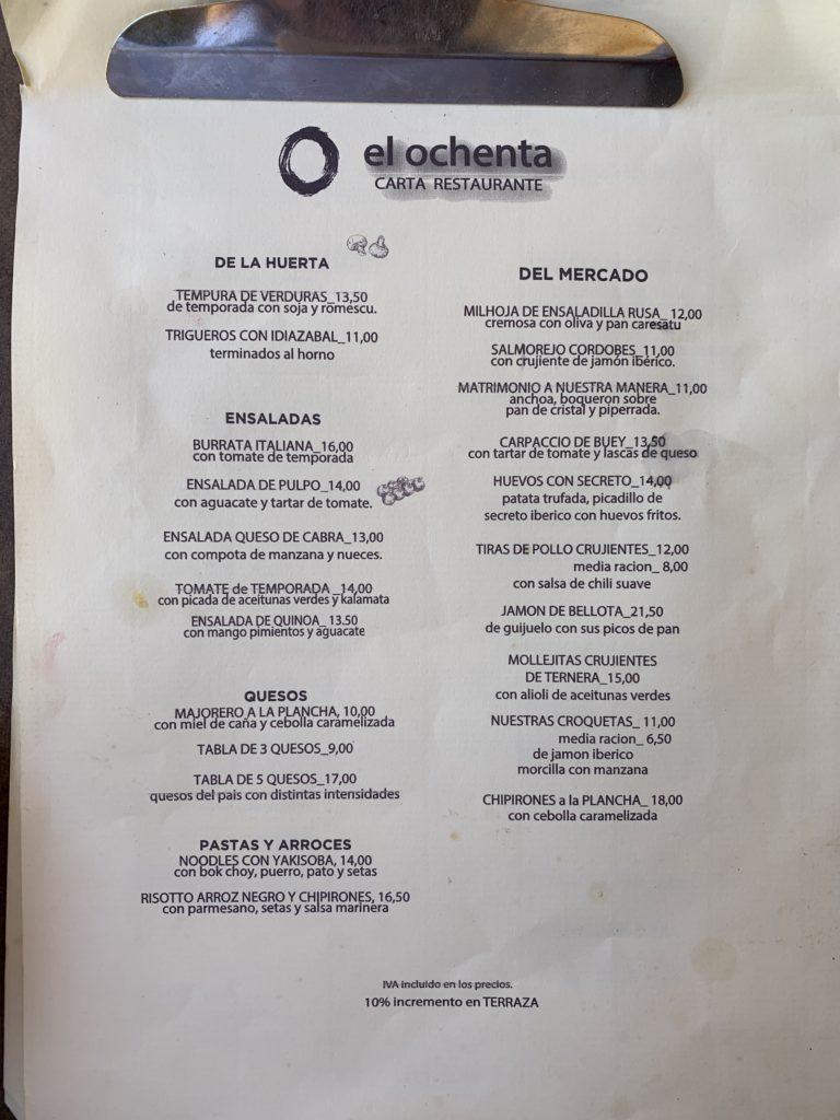 Carta Entrantes Restaurante El Ochenta Majadahonda