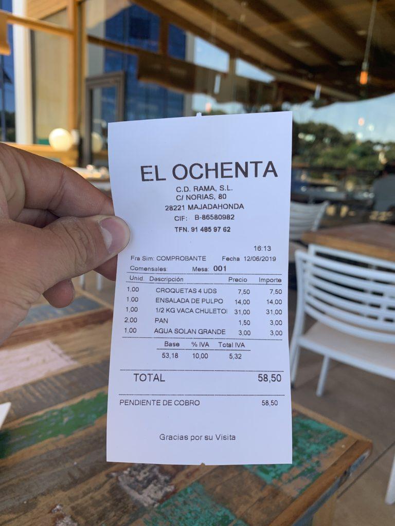 Ticket Cuenta Restaurante El Ochenta Majadahonda