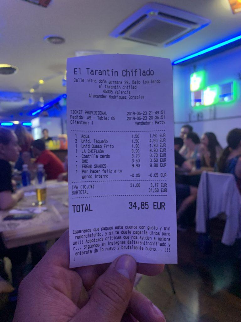 Ticket Cuenta El Tarantín Chiflado