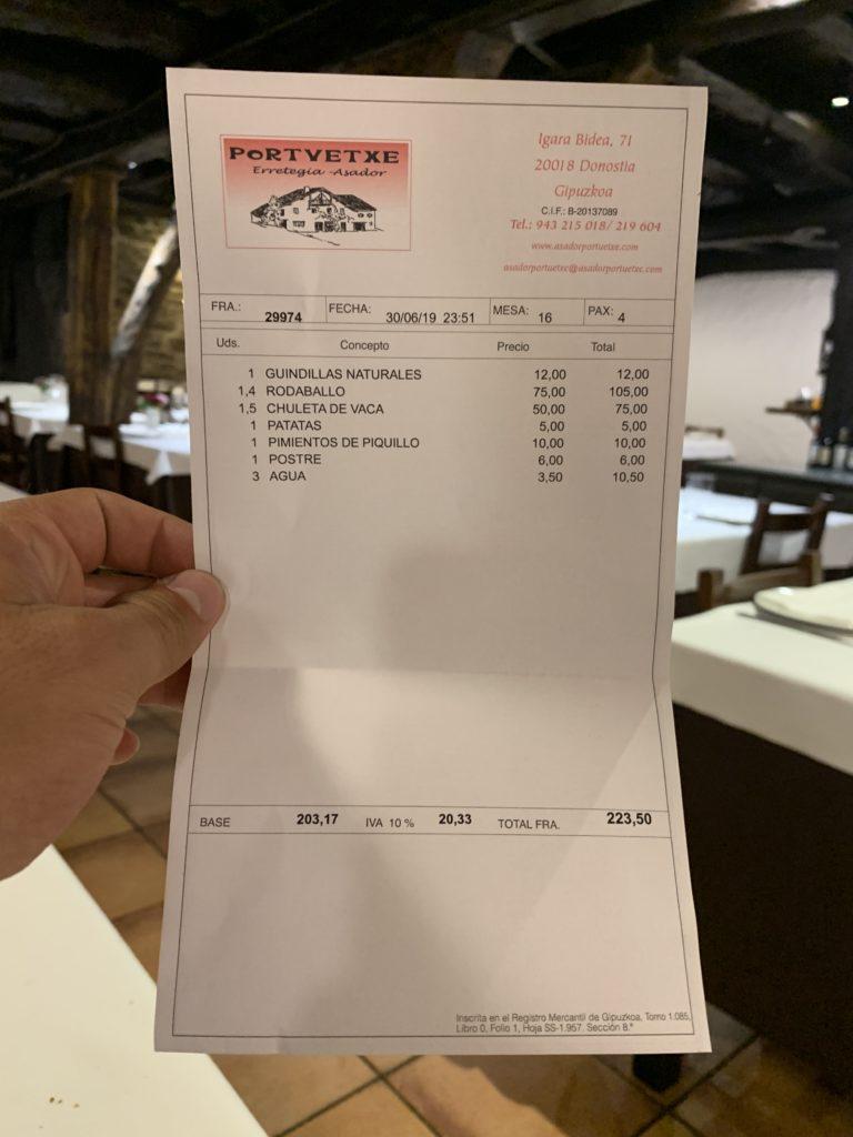 Ticket Cuenta Asador Portuetxe