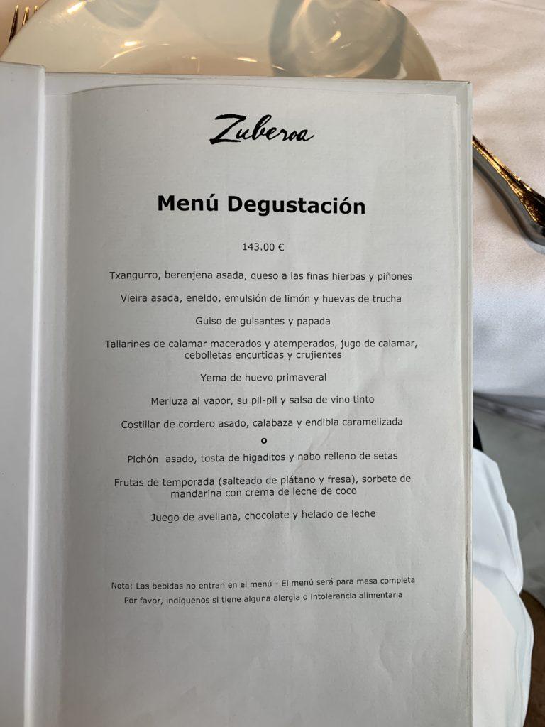 Menú Degustación Restaurante Zuberoa