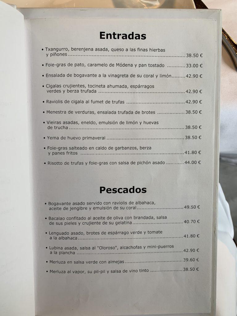 Carta Entrantes y Pescados Restaurante Zuberoa