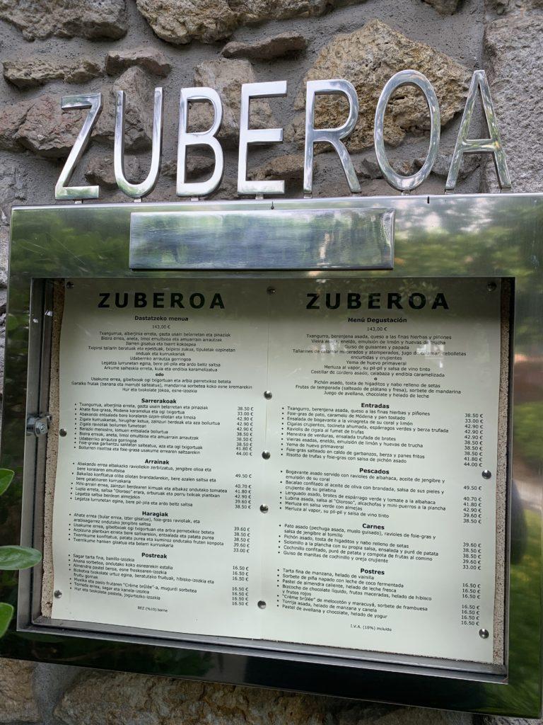 Carta Exterior Restaurante Zuberoa