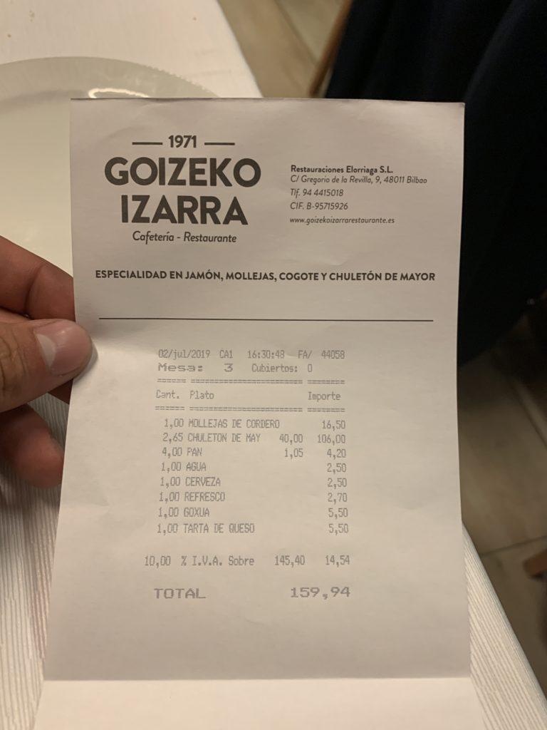 Ticket Cuenta Goizeko Izarra