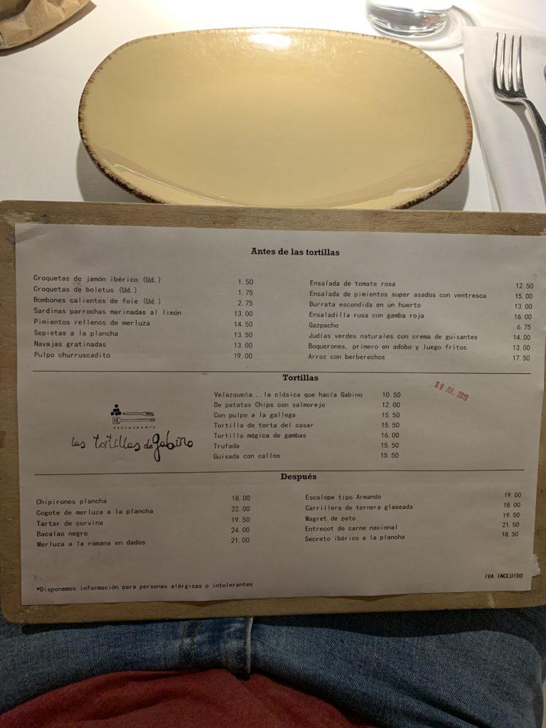 Carta Restaurante Las Tortillas de Gabino