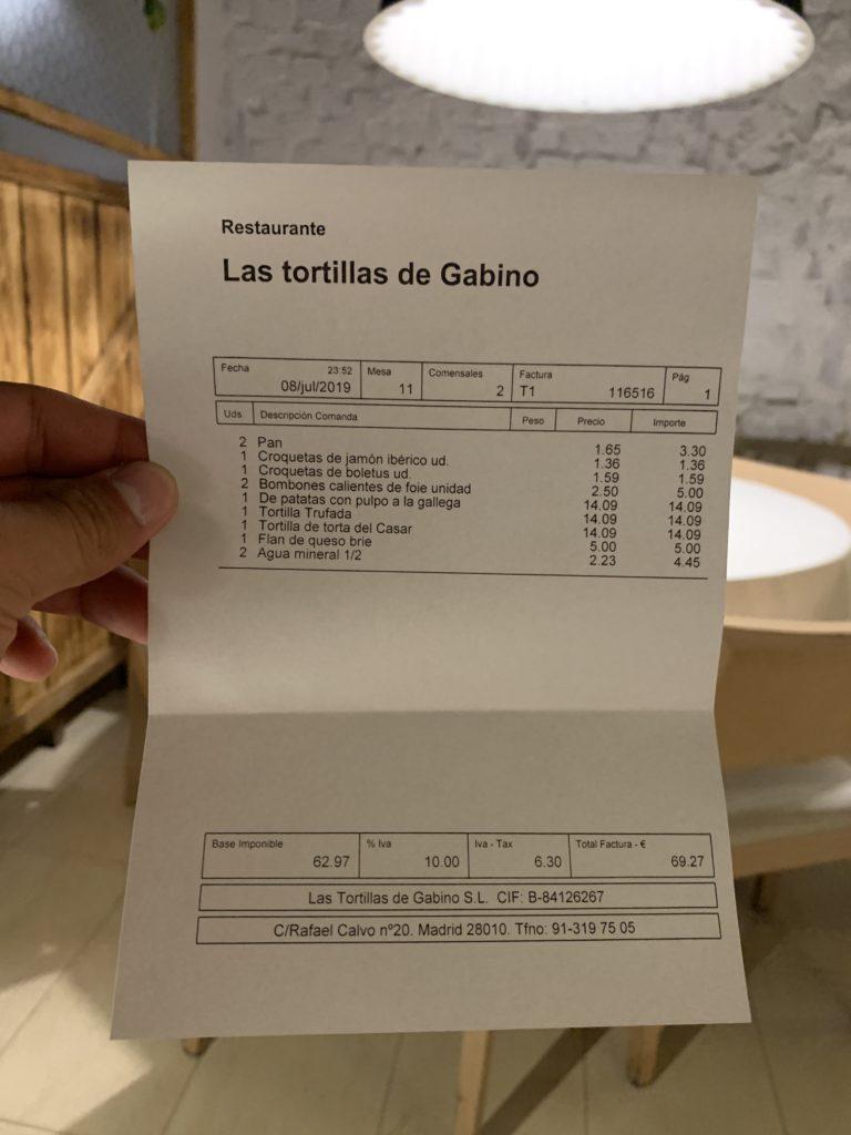 Ticket Cuenta Las Tortillas de Gabino