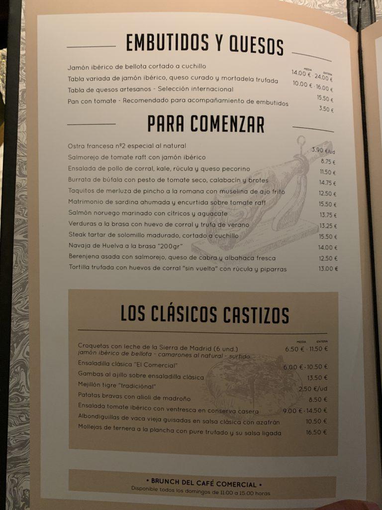 Carta Entrantes y Clásicos Café Comercial