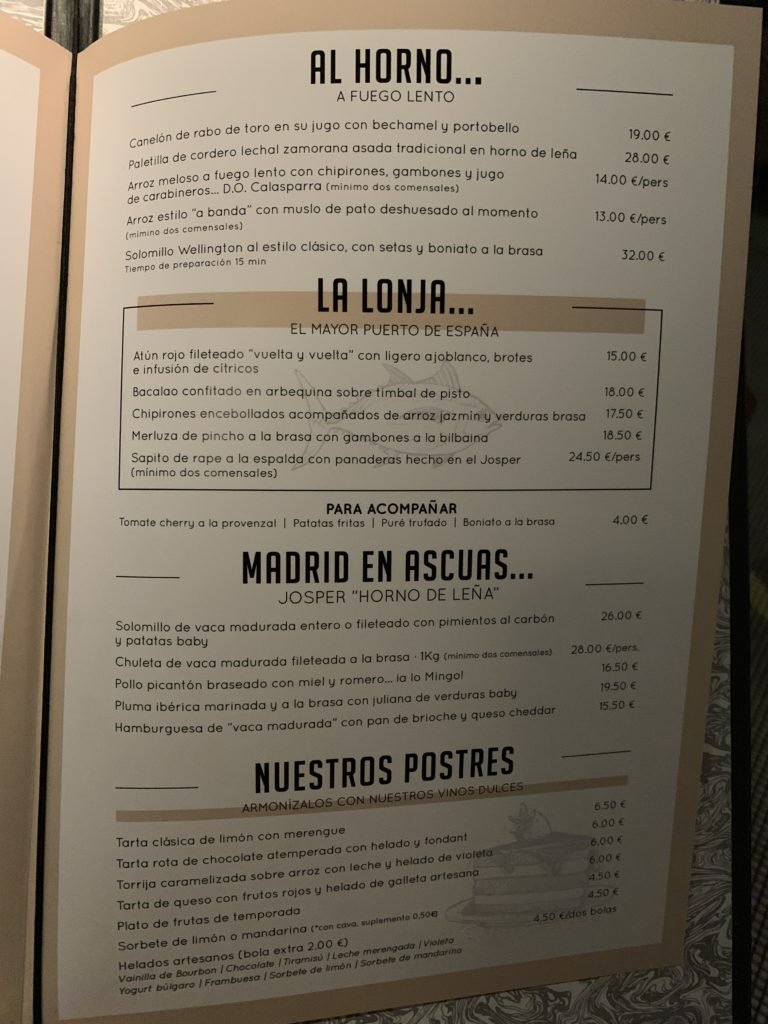 Carta Segundos y Postres Café Comercial