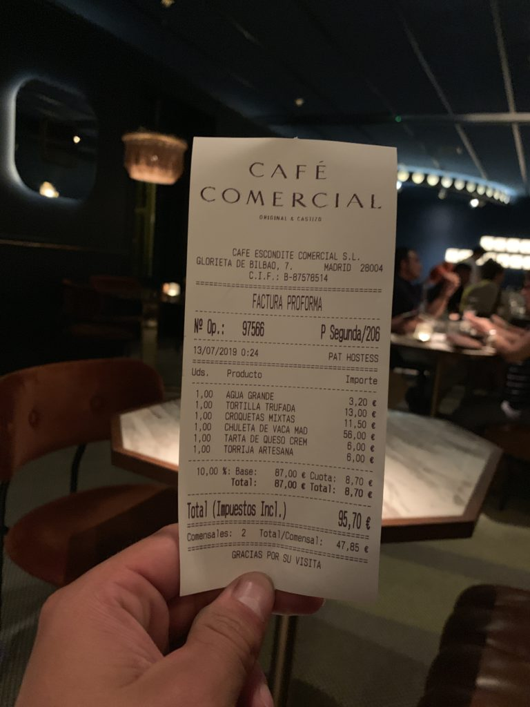 Ticket Cuenta Café Comercial