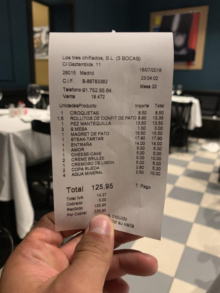 Ticket Cuenta Restaurante Tres Bocas