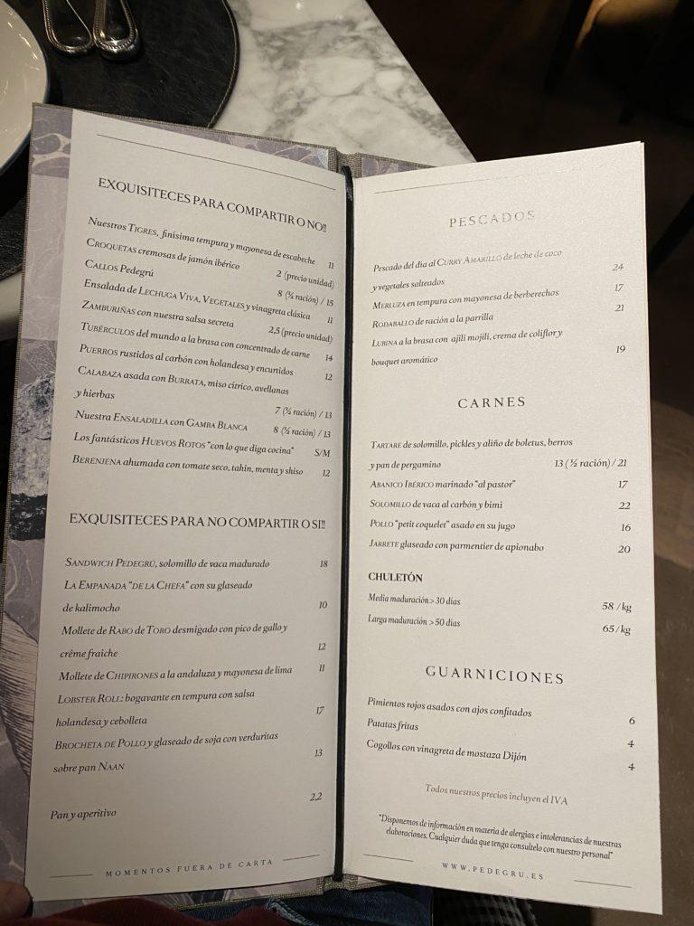 Carta Restaurante Pedegrú